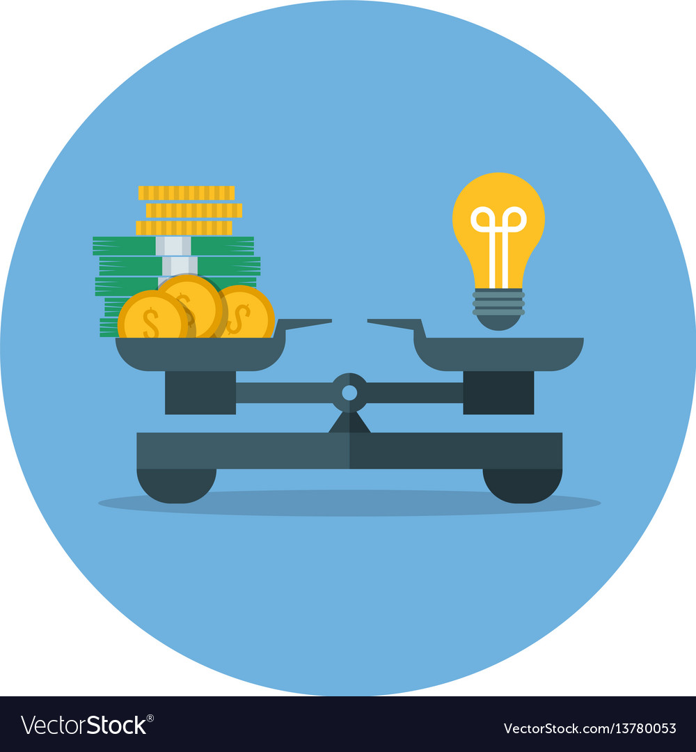 Comparison of money value and idea business vector image