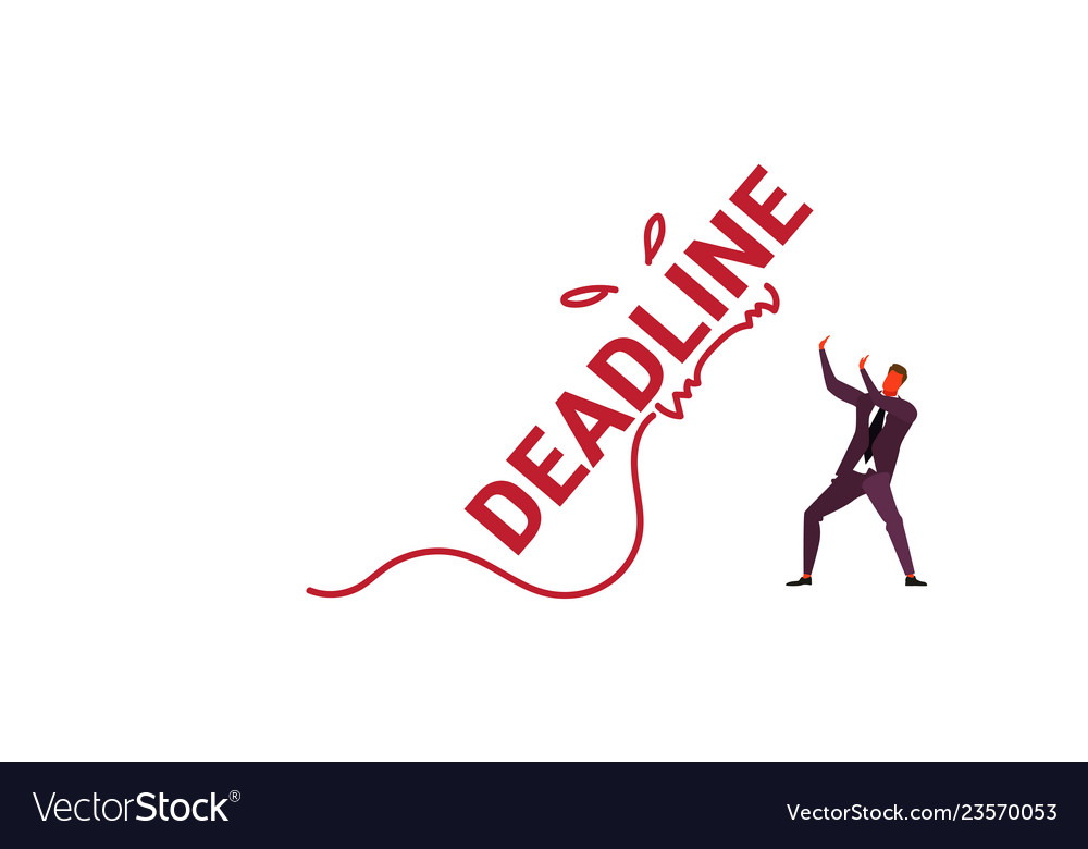 Deadline word monster falling on exhausted