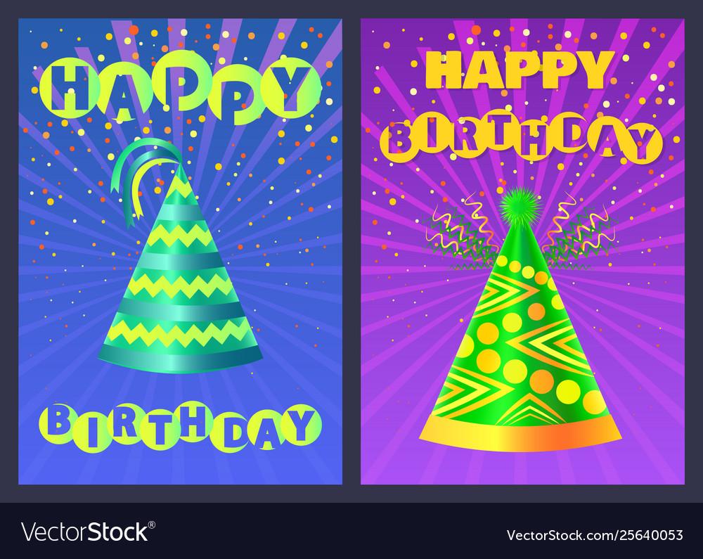 Festive cone cap happy birthday postcard