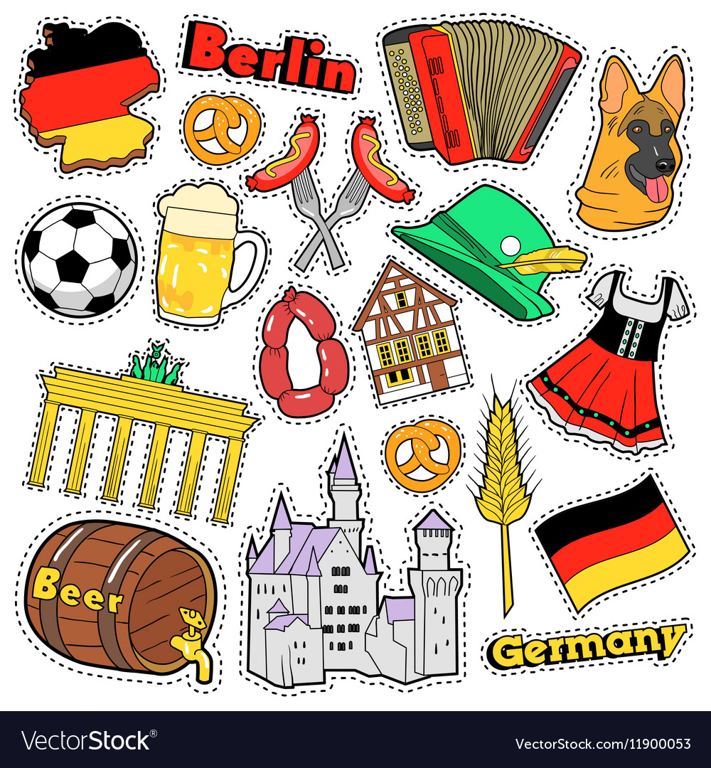 Germany Travel Scrapbook Stickers Patches Badges Vector Image