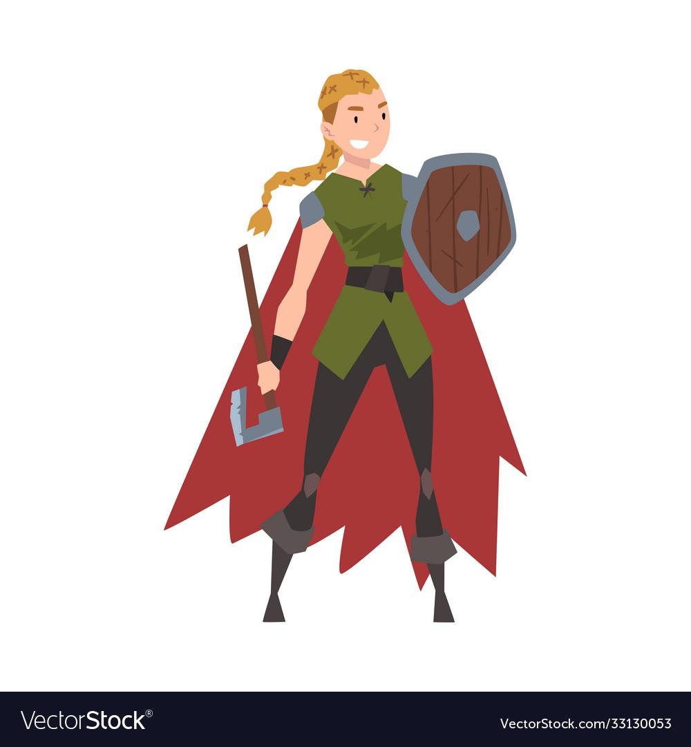 Girl viking female scandinavian warrior character