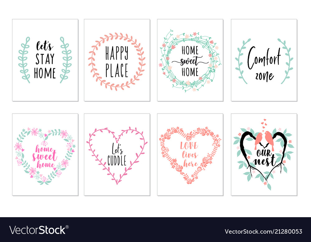 Home Quotes Wall Art Prints Set Royalty Free Vector Image Mesmerizing Wall Art Quotes