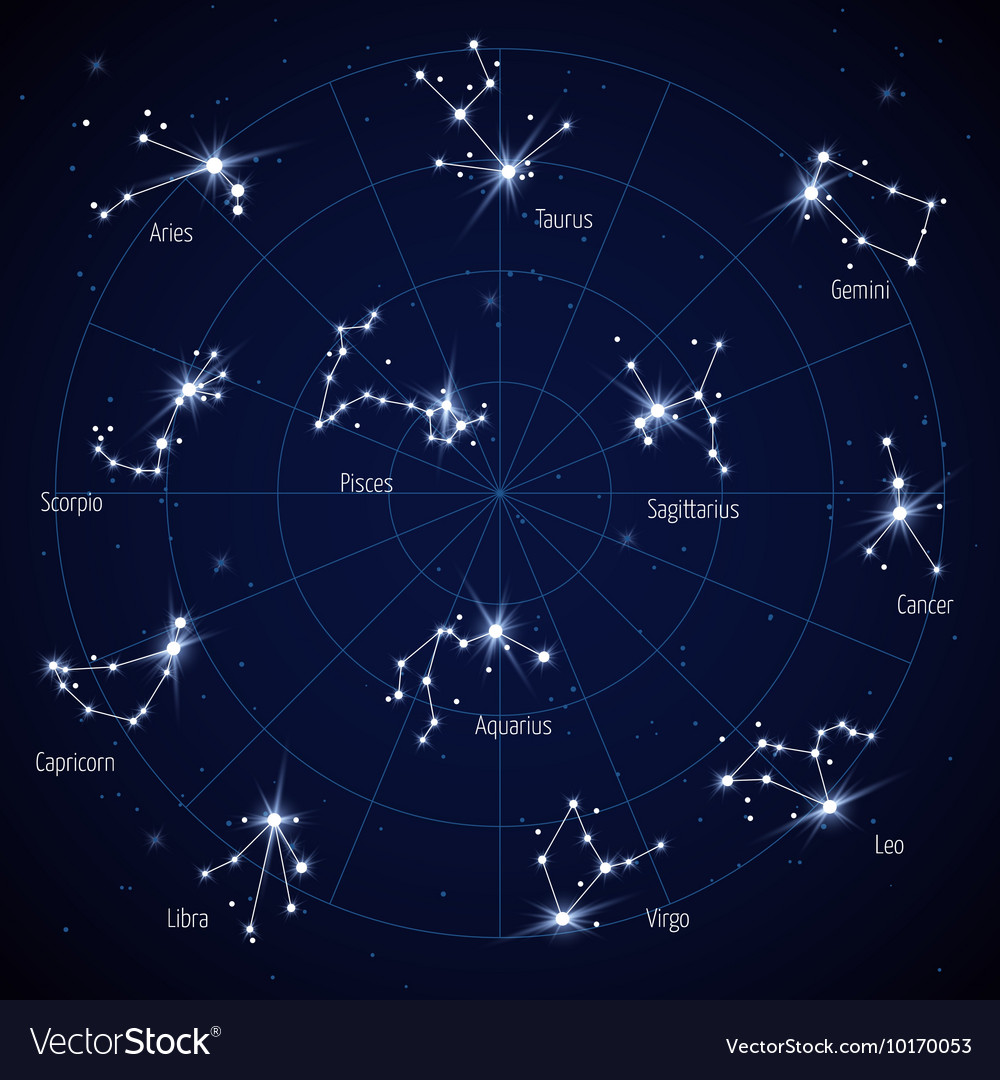 Map Of Stars Sky star map with constellations stars Royalty Free Vector