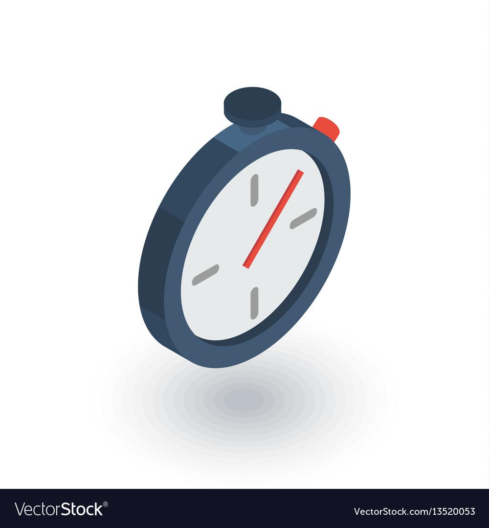 Stopwatch isometric flat icon 3d