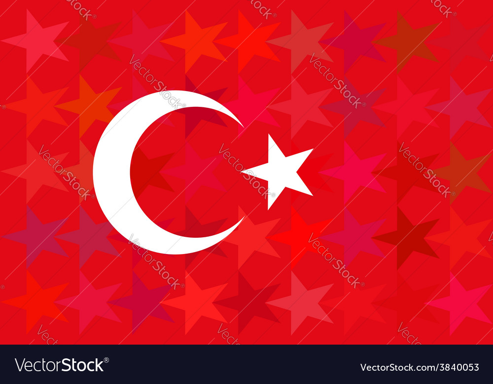 Turkey flag on unusual red stars background vector image