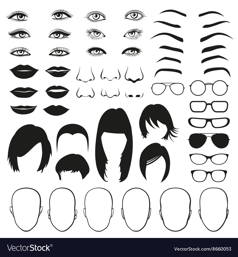 Woman face parts eye glasses lips and hair