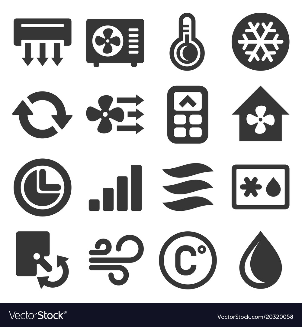 Air conditioner icons set on white background