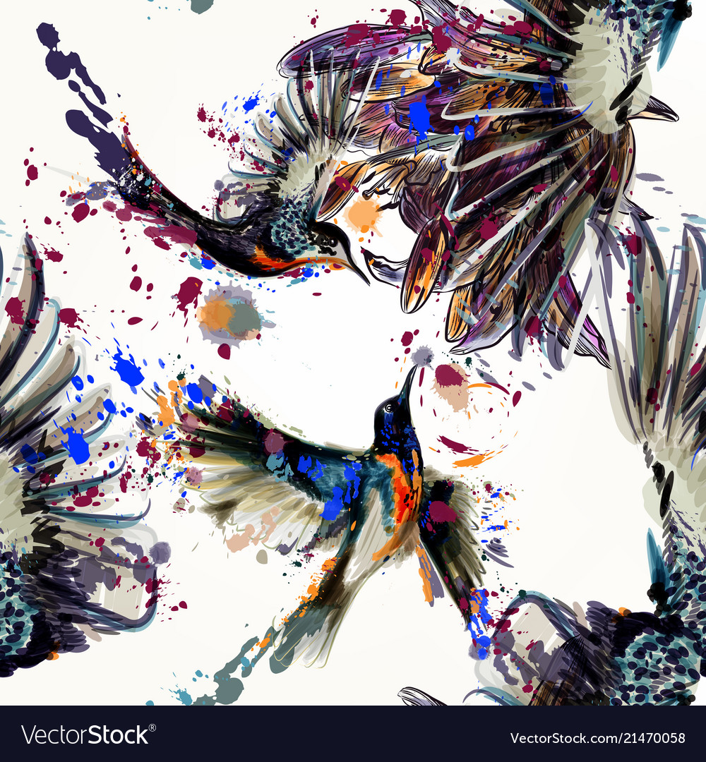Beautiful seamless back humingbirds and flowers