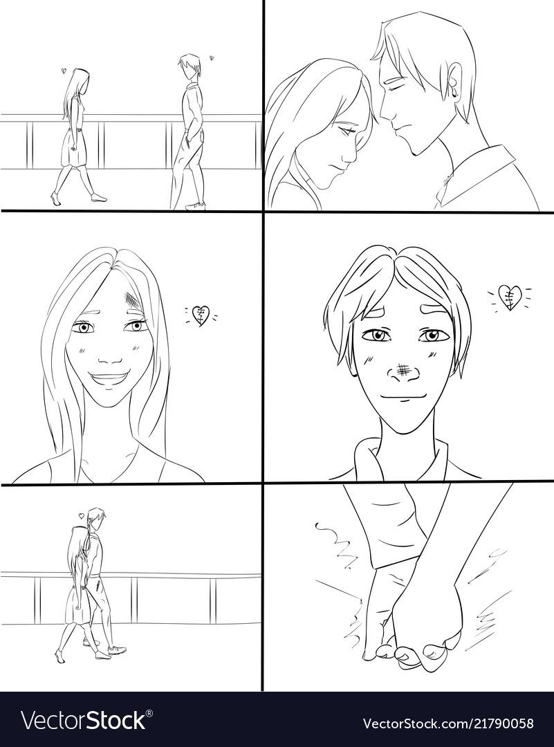 Boy and girl dating storyboard