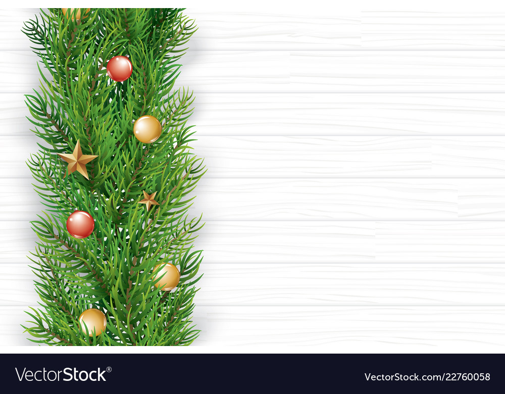 Christmas with fir branch on white wooden