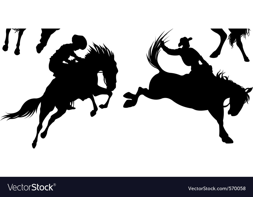 Cowboys on horse silhouettes
