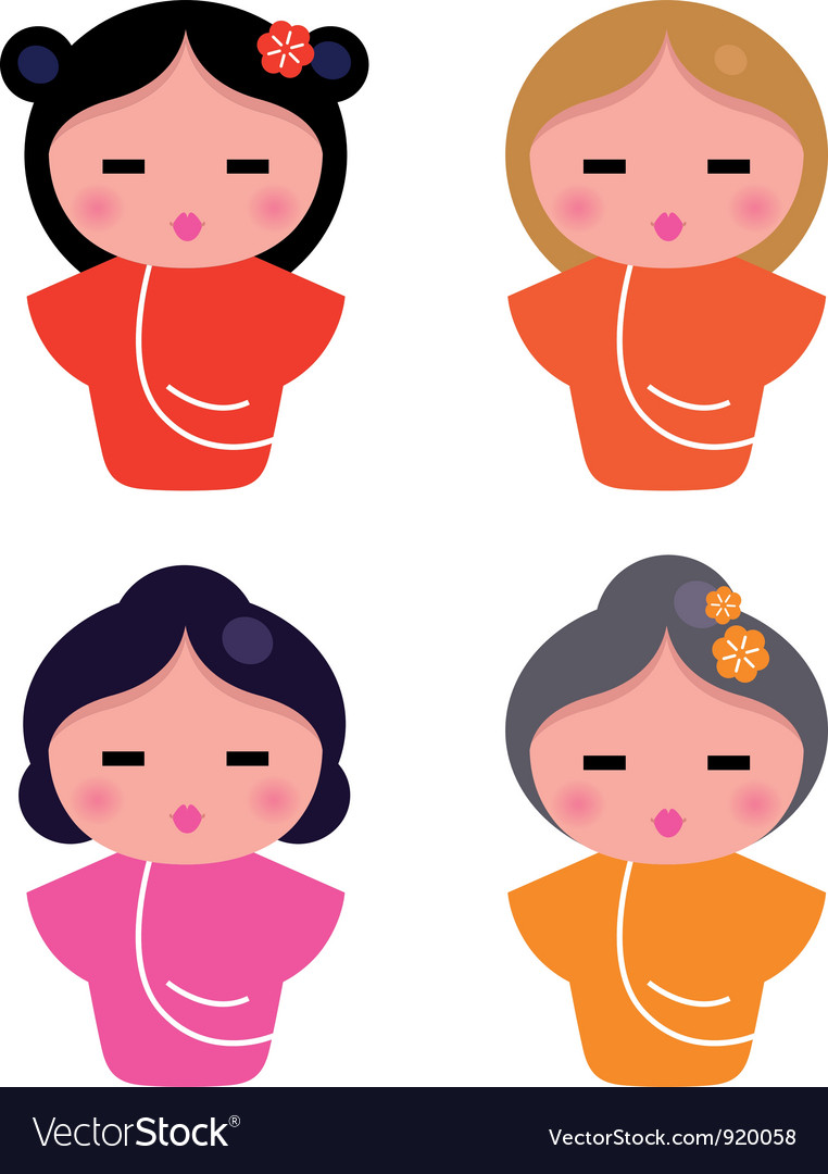 Cute little geisha set isolated on white vector image