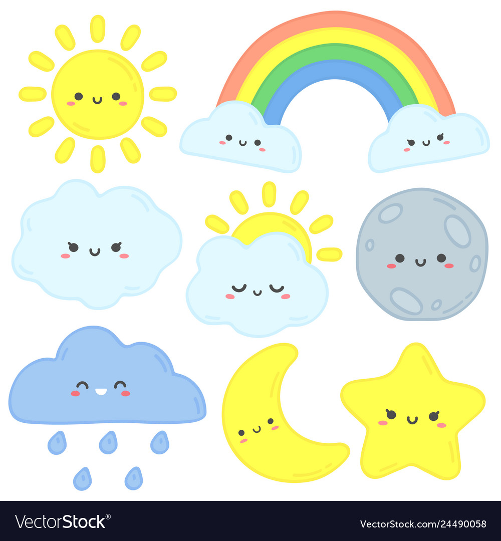Cute sky happy sun funny moon and hand drawn