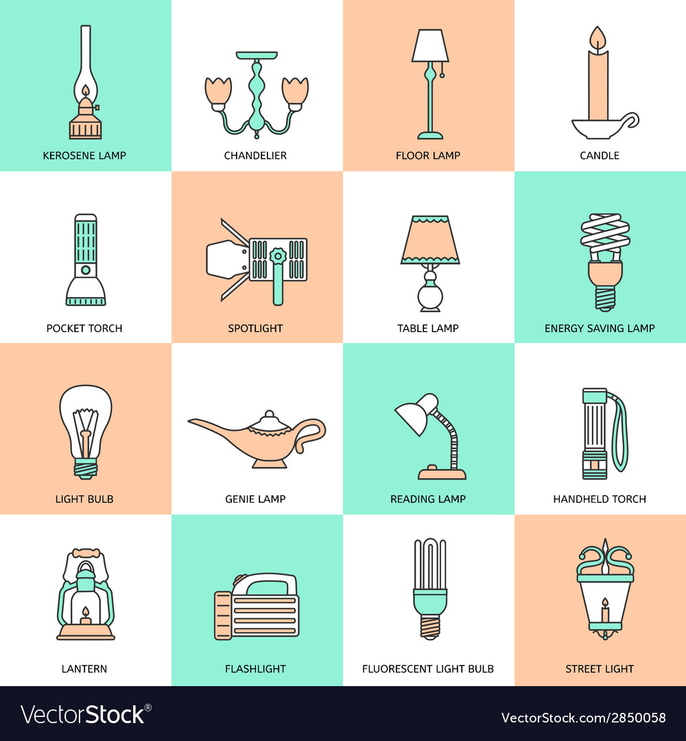 Flashlight and Lamps Icons Flat Line