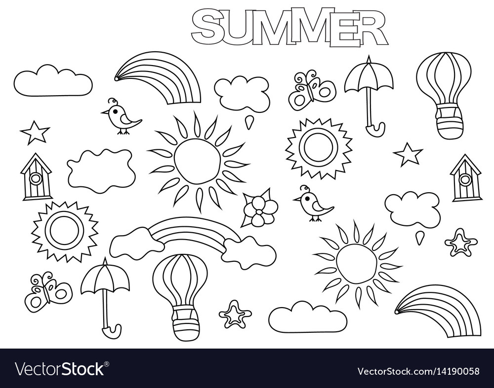 Hand drawn summer weather set coloring book page