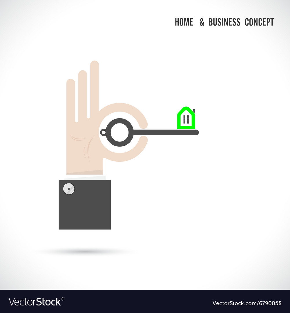 Key and house icon abstract logo