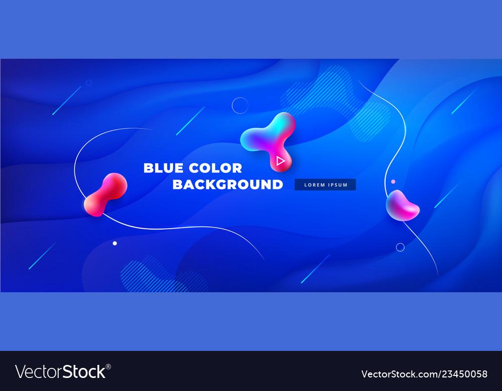 Liquid blue color background design fluid blue