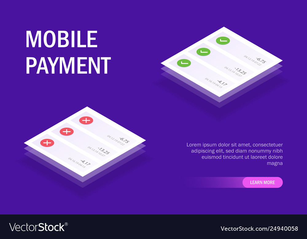 Mobile payment concept mobile ui pop-up