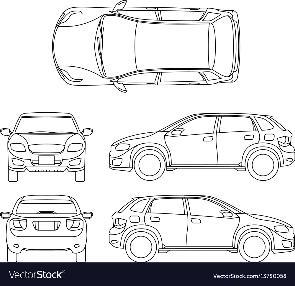 Offroad suv auto outline vehicle vector image