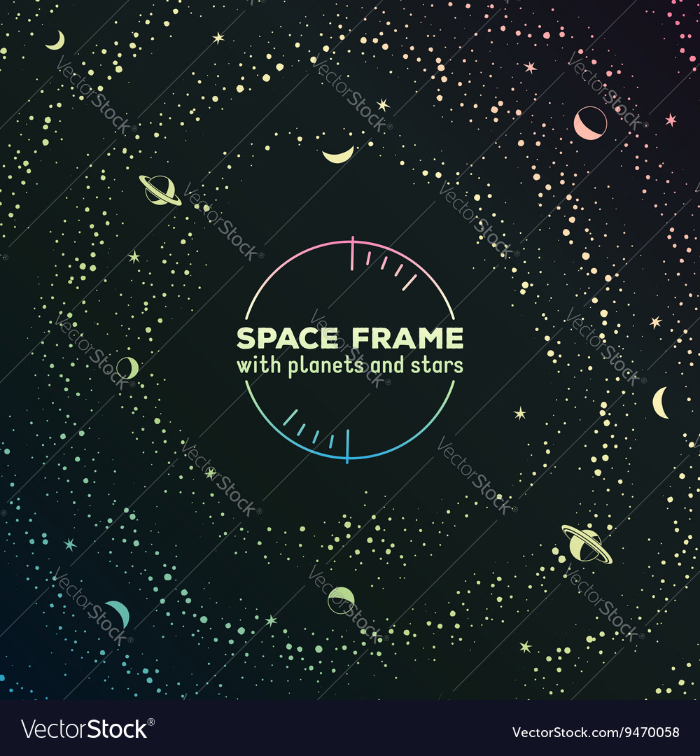 Retro futuristic frame with space stars and