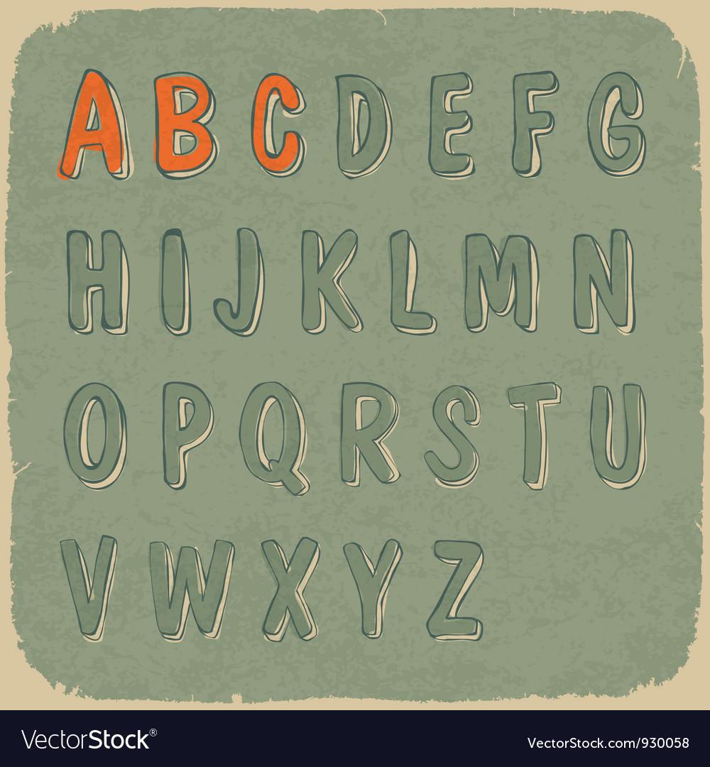 Retro styled sans serif font vector image