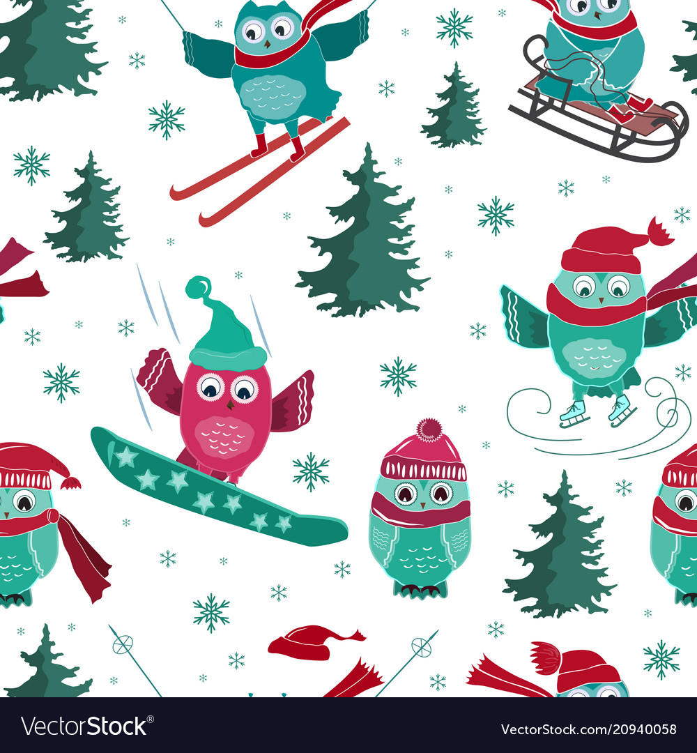 Seamless pattern with active sport owls