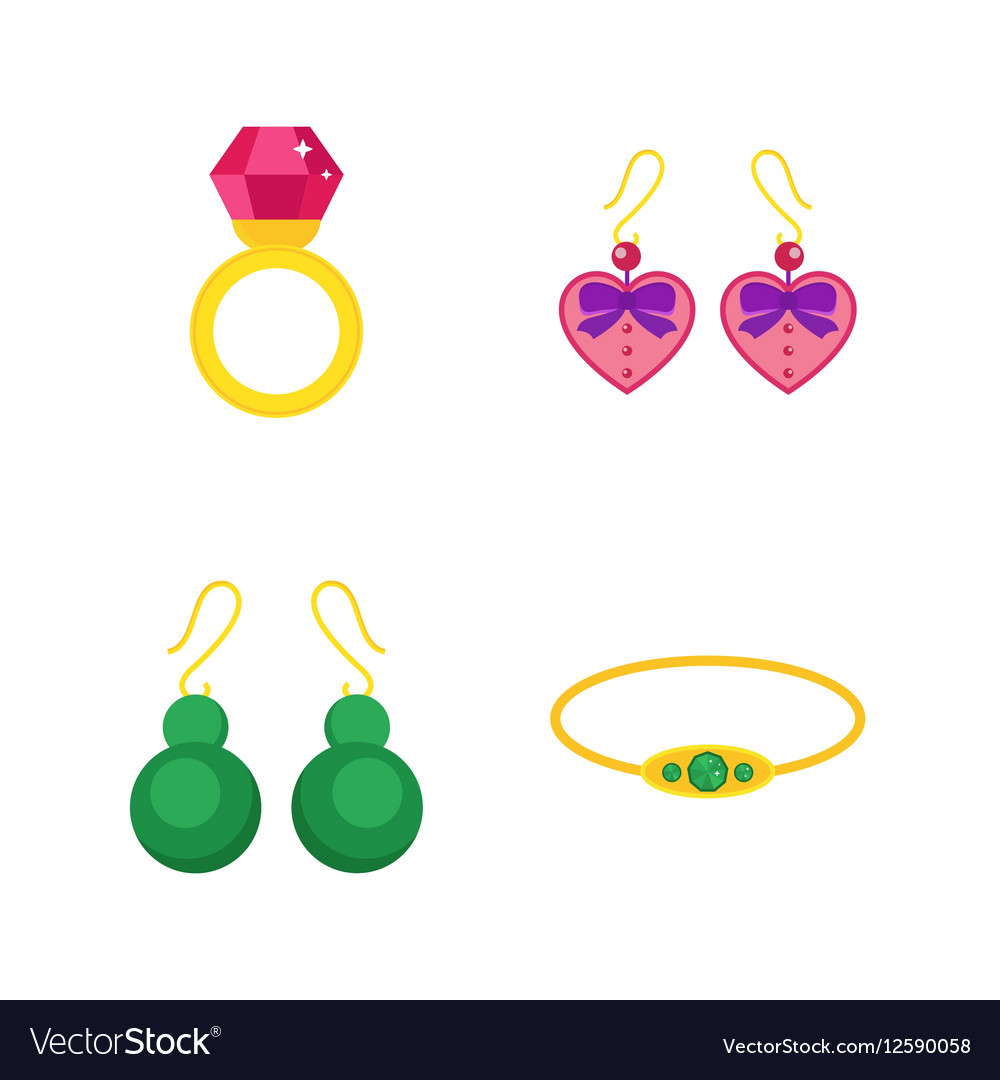 set of cartoon jewelry accessories royalty free vector image