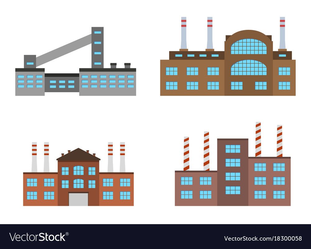 Set of production industrial building isolated on vector image