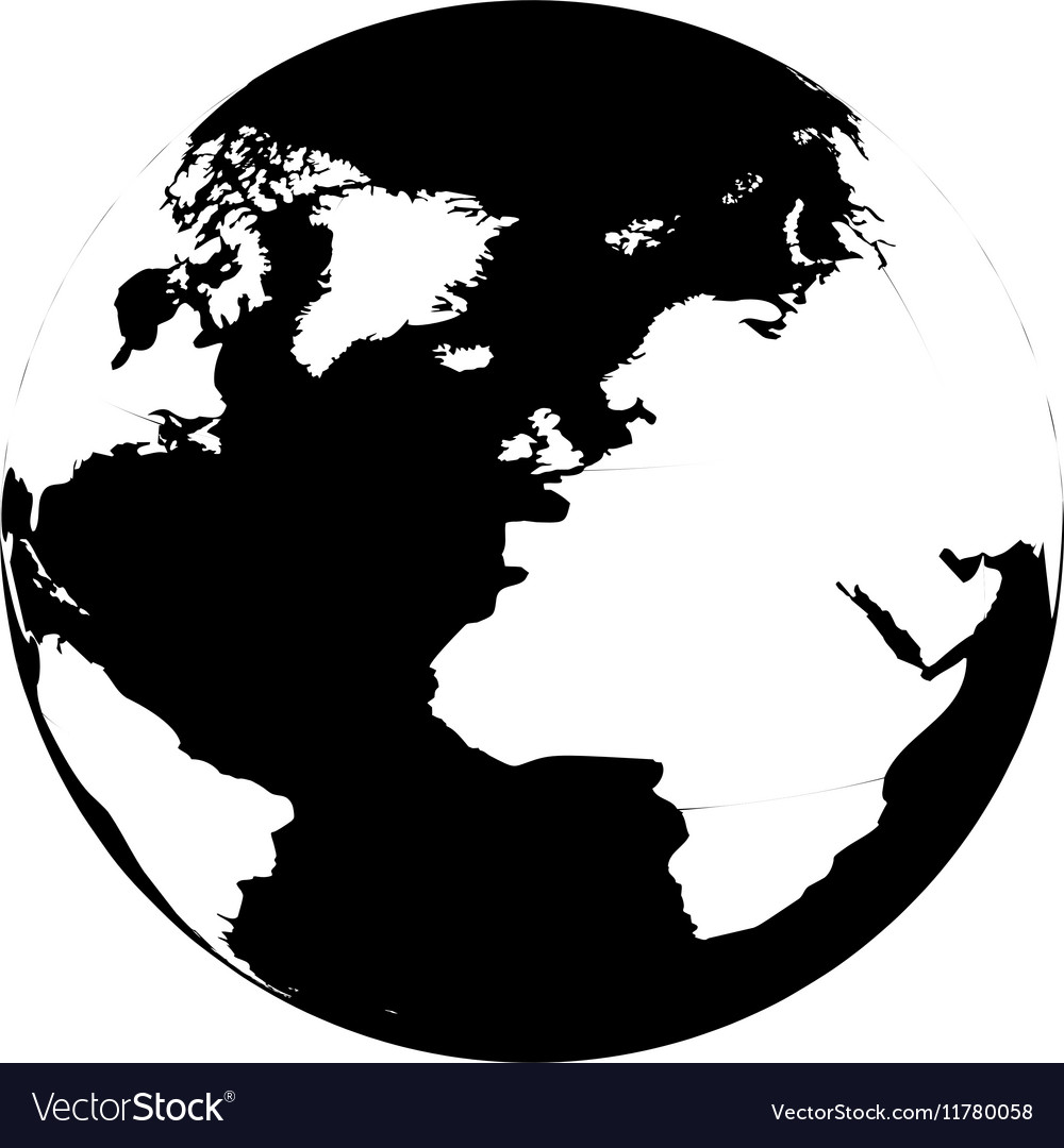 Silhouette monochrome with map of the world