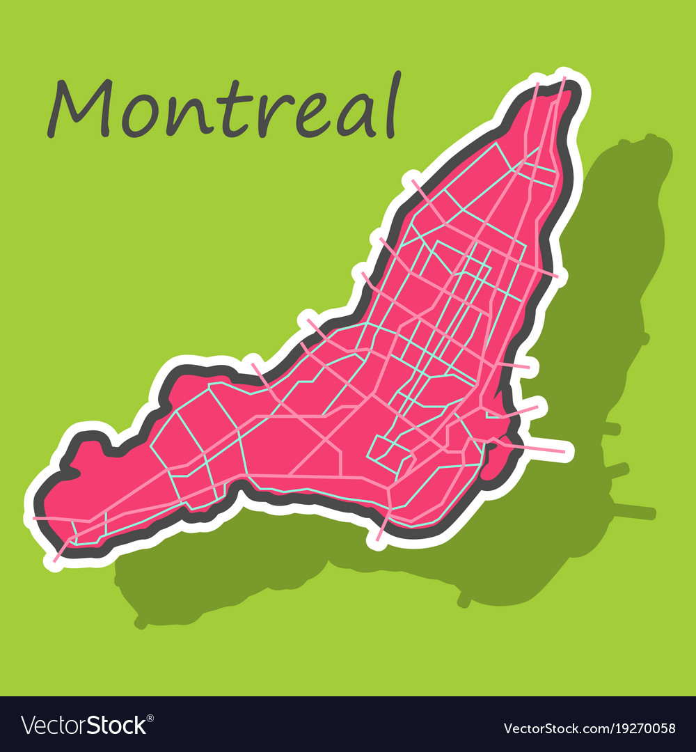 Sticker map of montreal is a city of canada with Vector Image