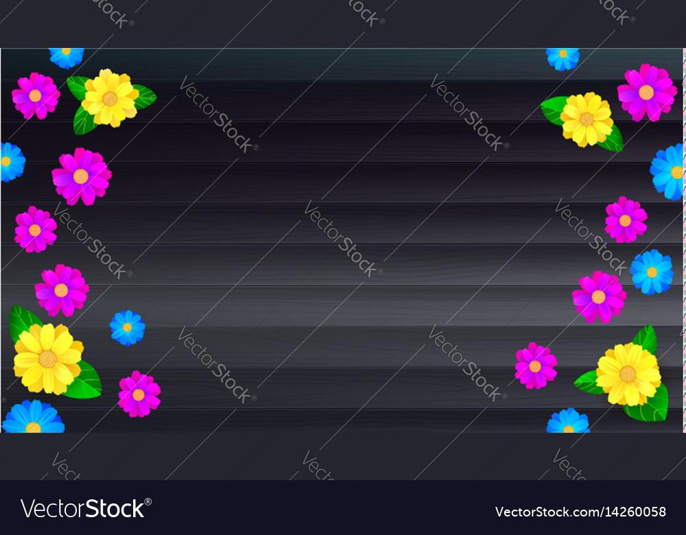 Summer banner background black wooden backdrop vector image