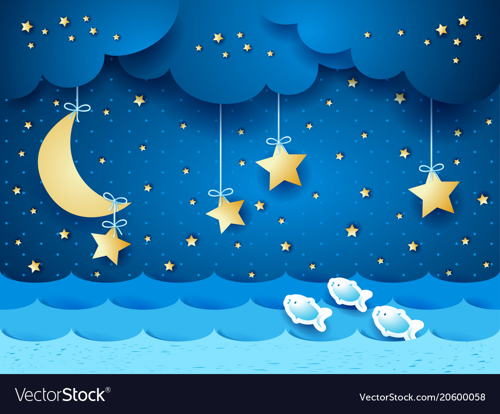 Surreal seascape with moon and stars vector image