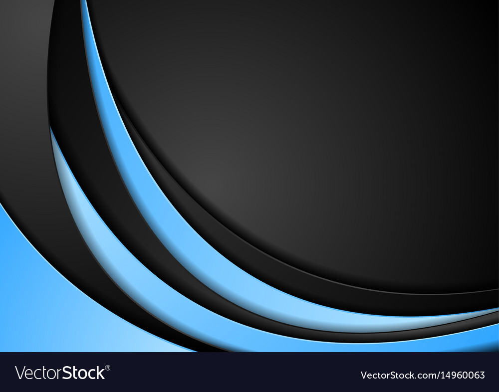 abstract contrast blue black wavy background vector image
