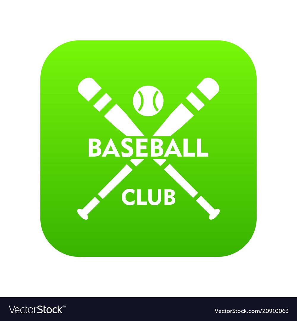 Baseball club icon green vector image