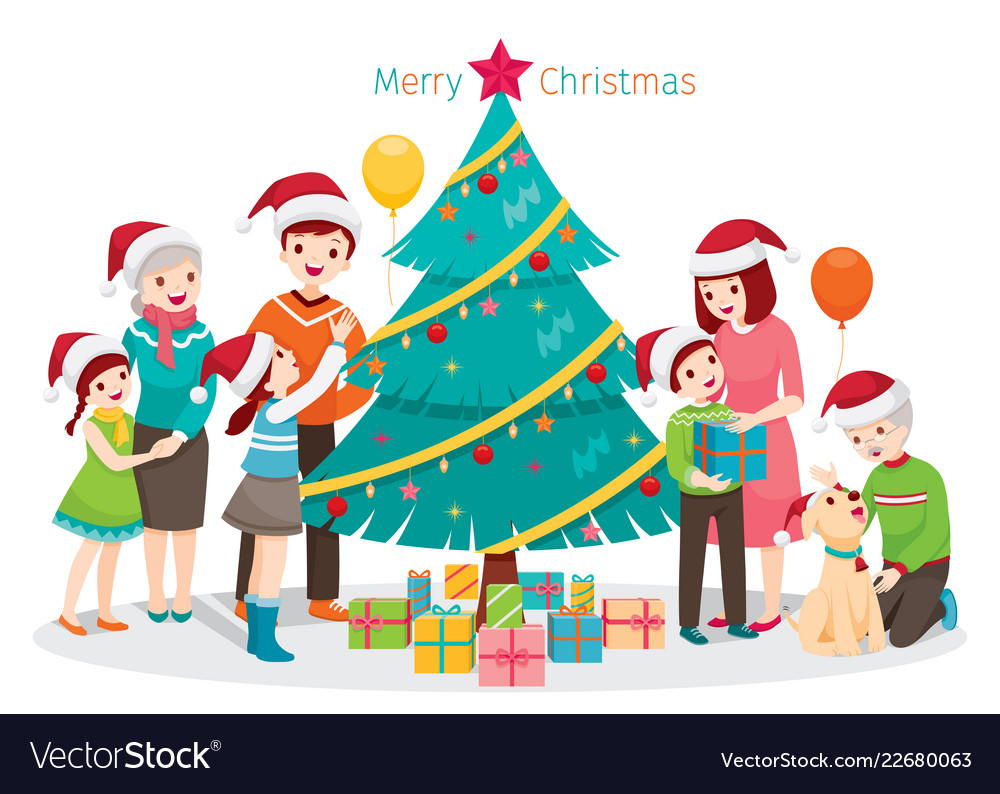 big happy family christmas tree and gifts vector image