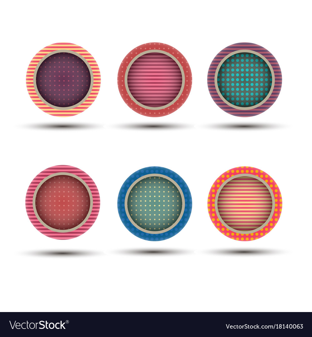 Button round circle icon label set web symbol vector image