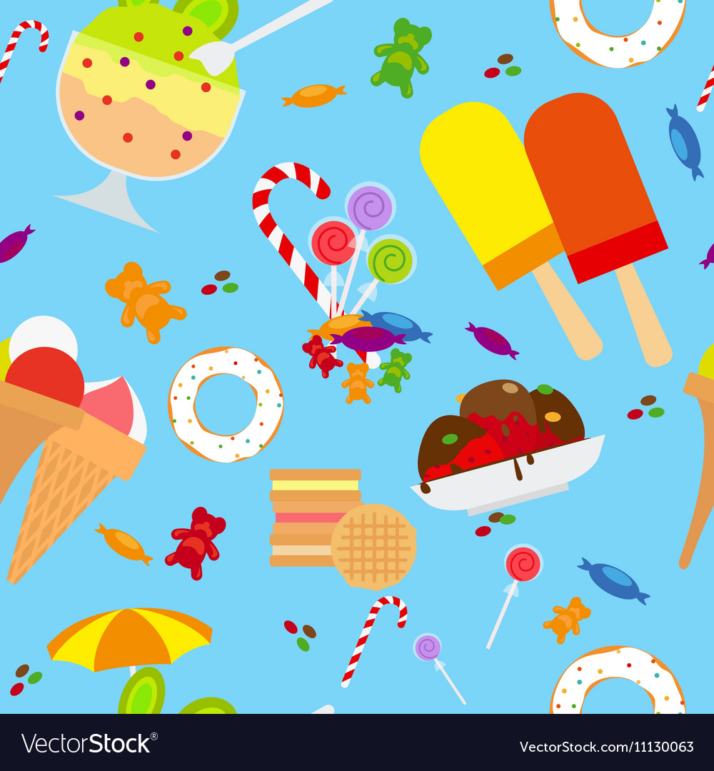 Candies And Ice Cream Seamless Pattern
