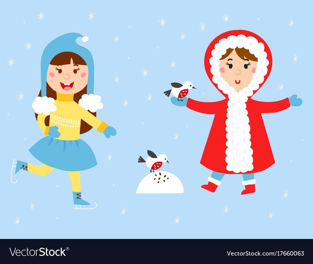 Christmas kids playing winter games children