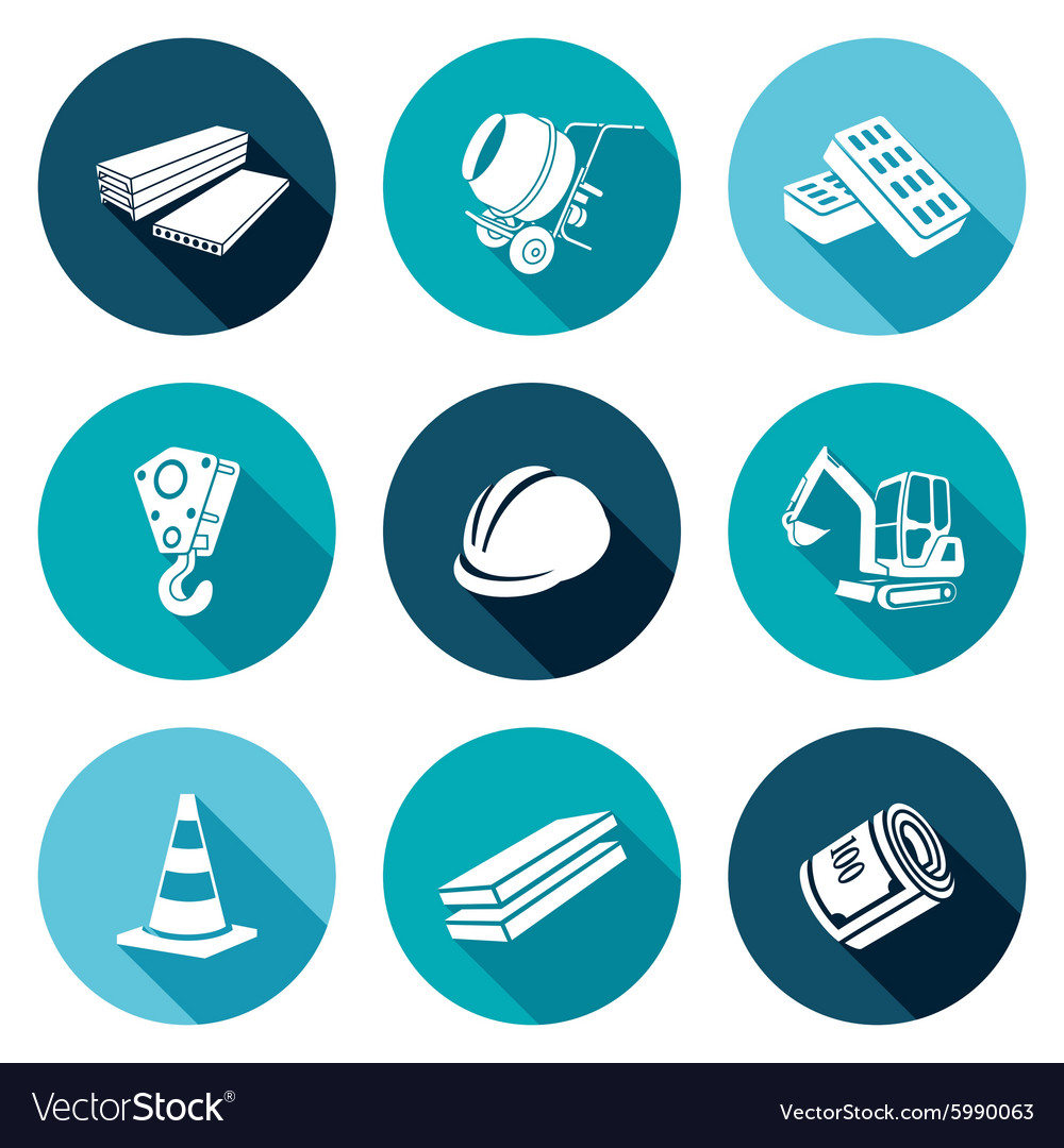 Construction Machinery Equipment Materials Icons Vector Image