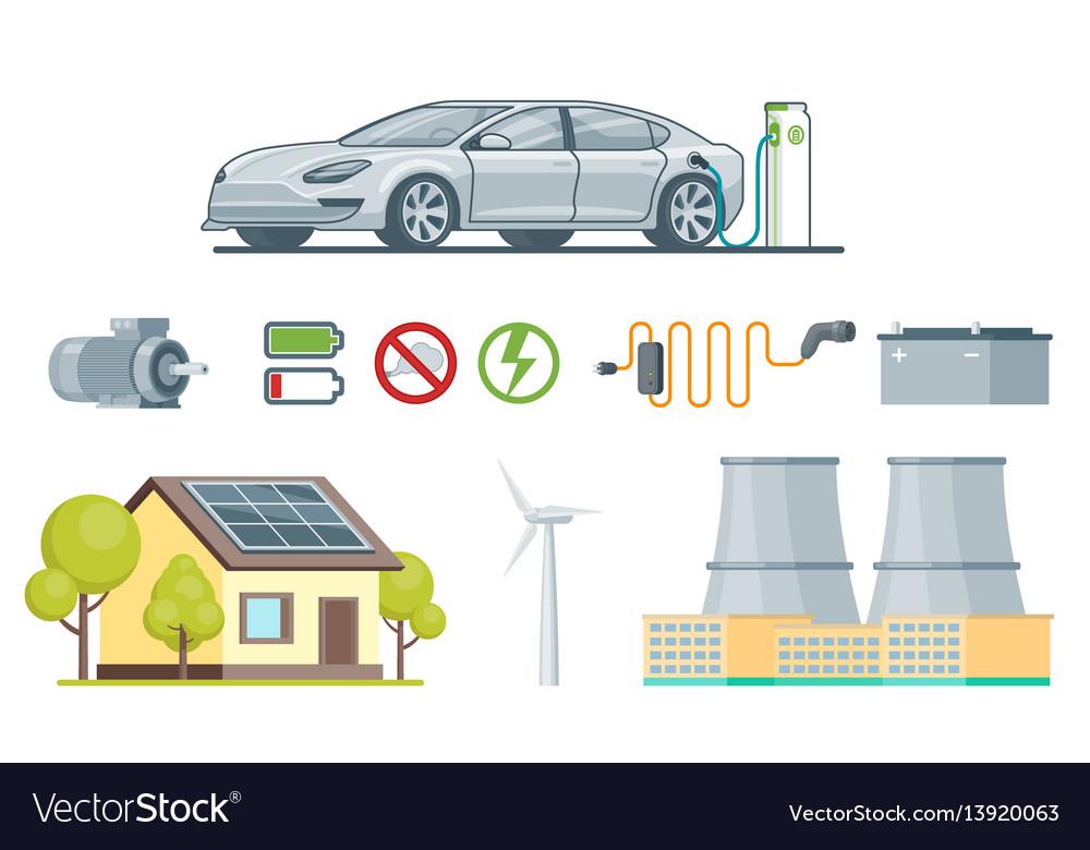 Ecology elements set vector image