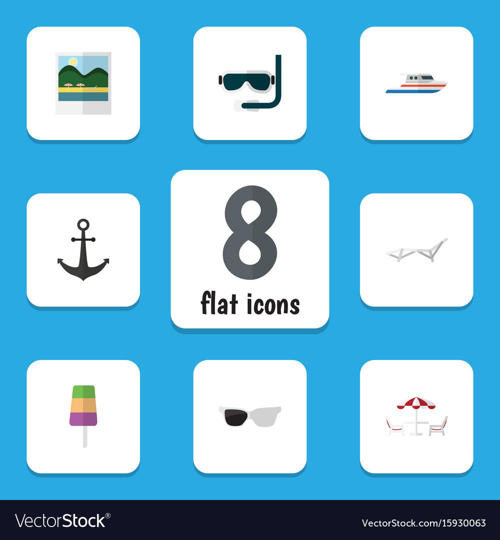 Flat icon summer set of sundae ship hook scuba