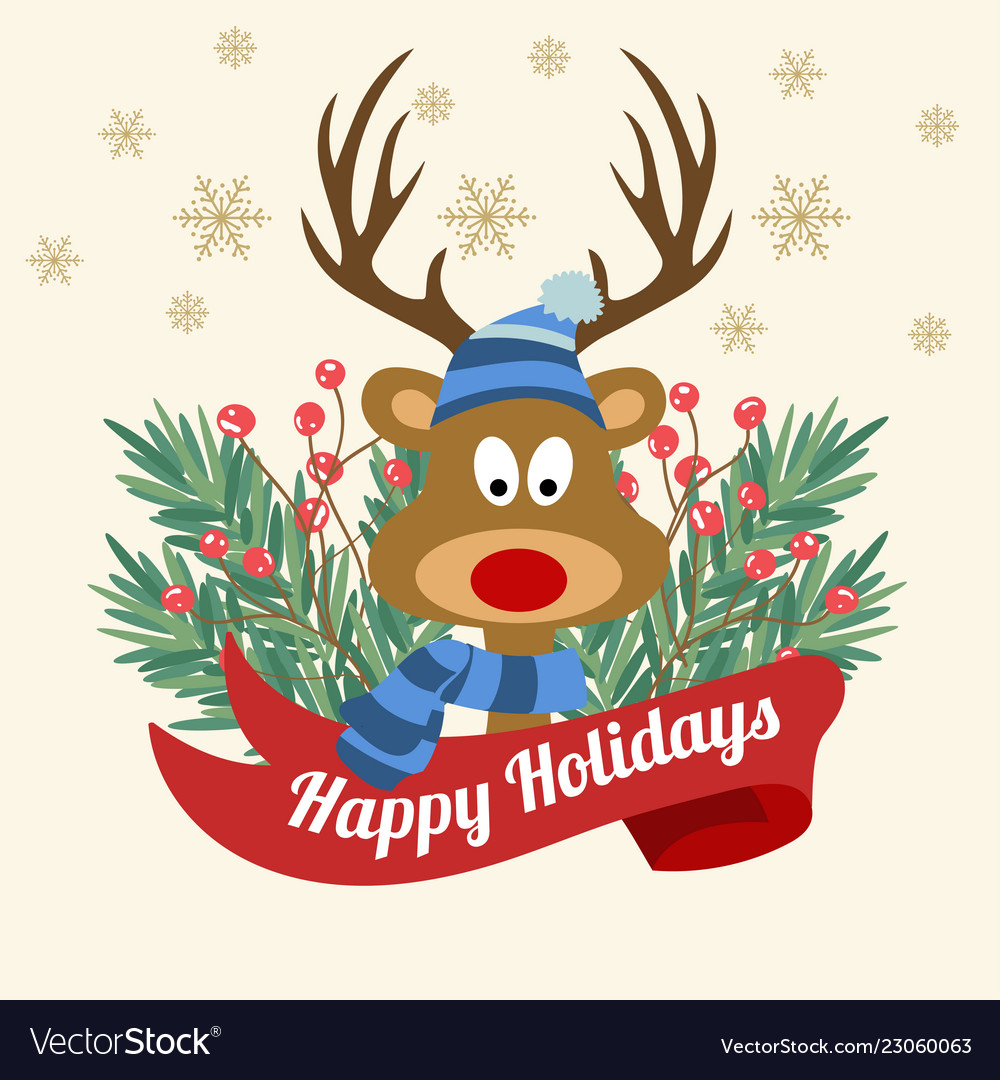 Funny christmas card with tree branches and