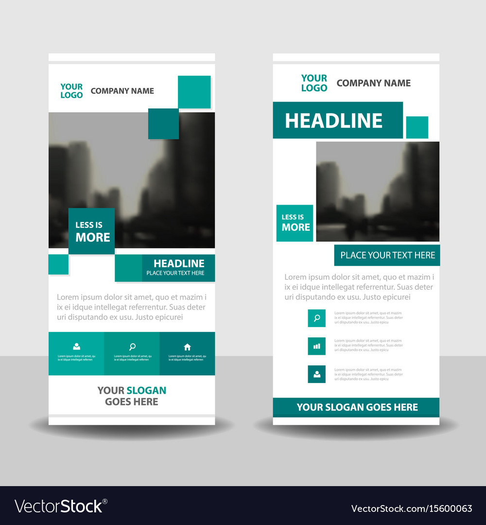 Green square business roll up banner flat design vector image