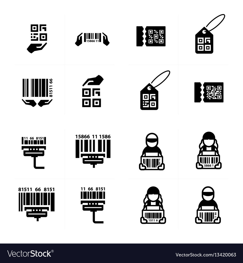 Icon hand and barcode design set