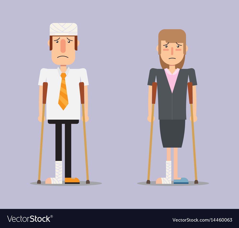 Injured business man and woman