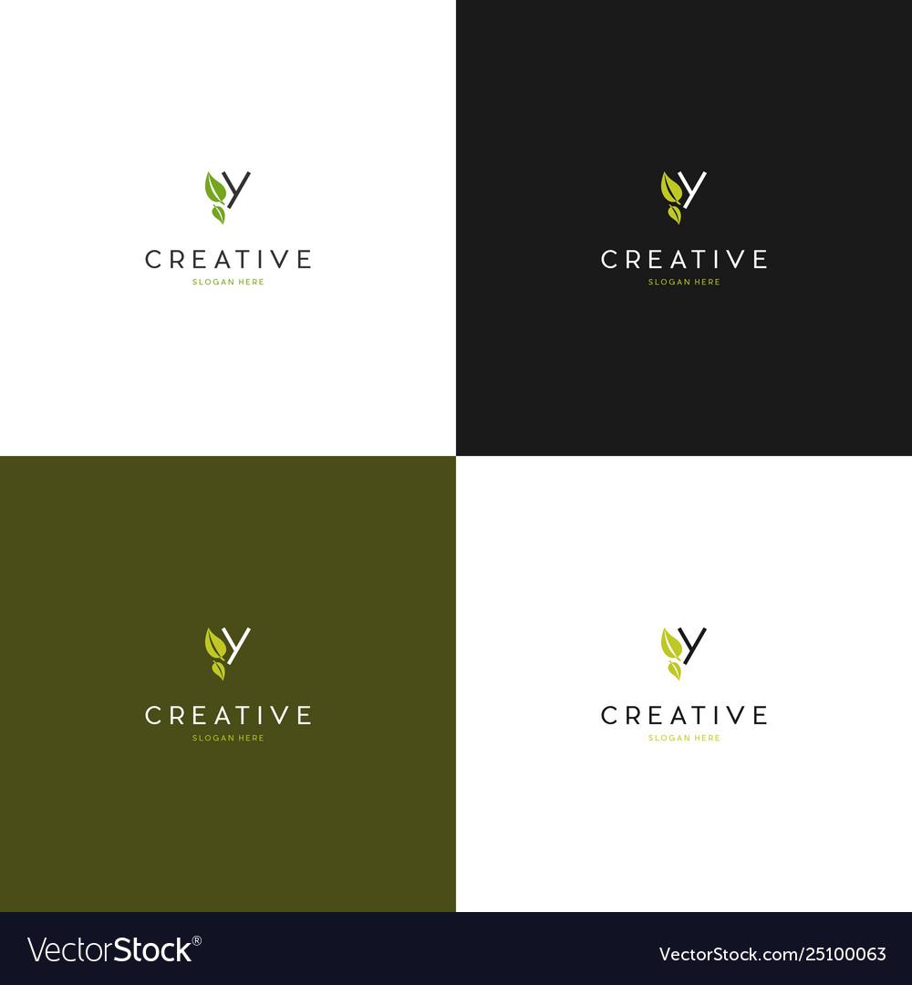 Letter y leaf creative logo design