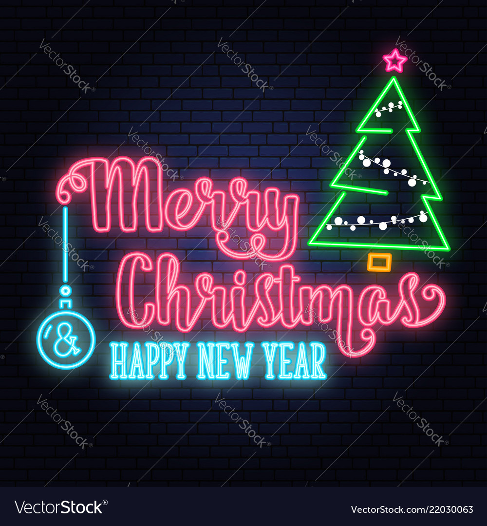 merry christmas and happy new year neon signwith vector 22030063