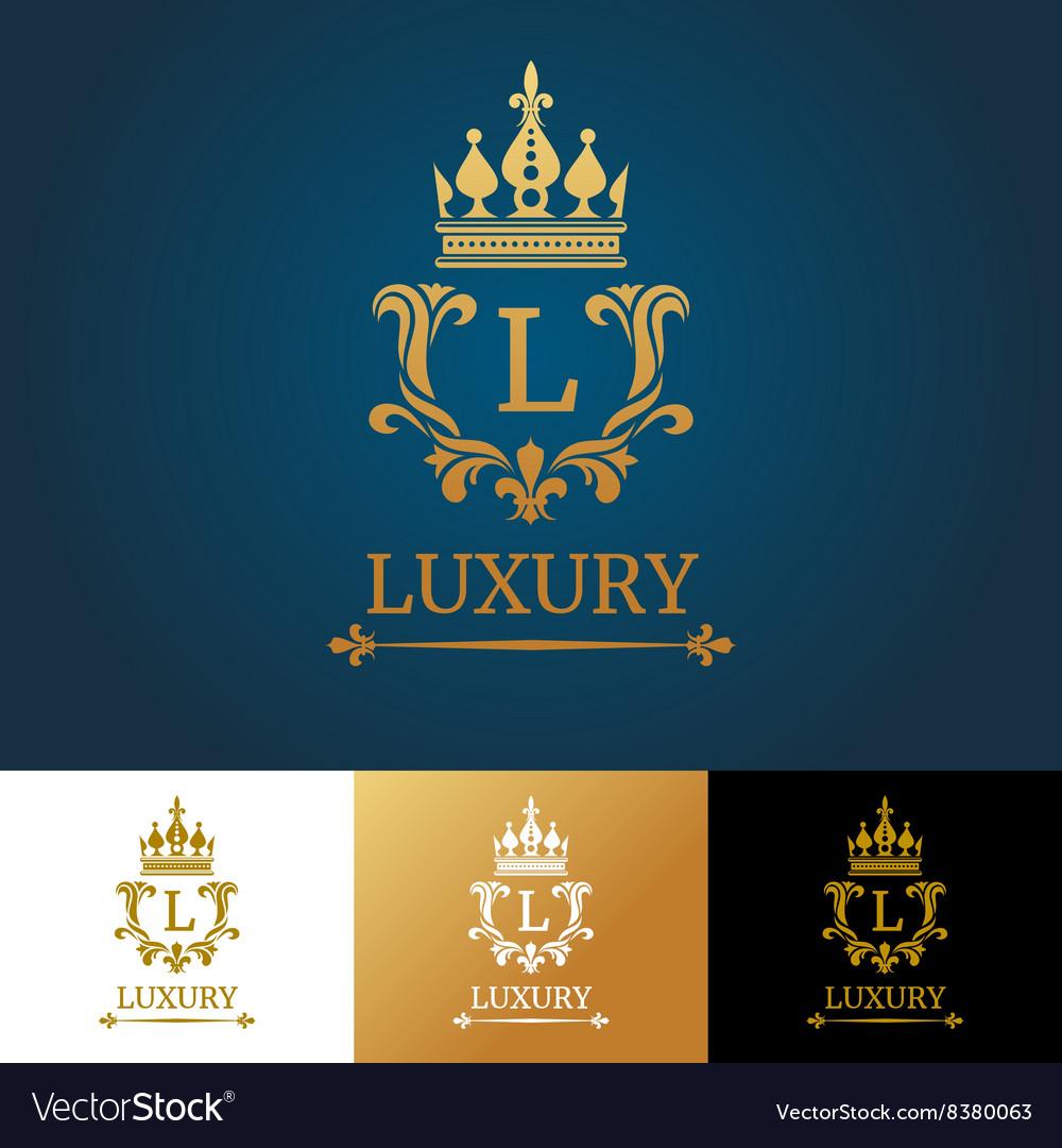 Monogram with crown Royal design logo