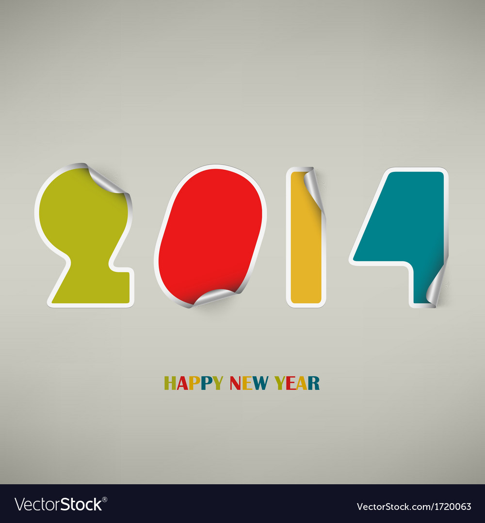 New Years wishes as colored stickers Royalty Free Vector