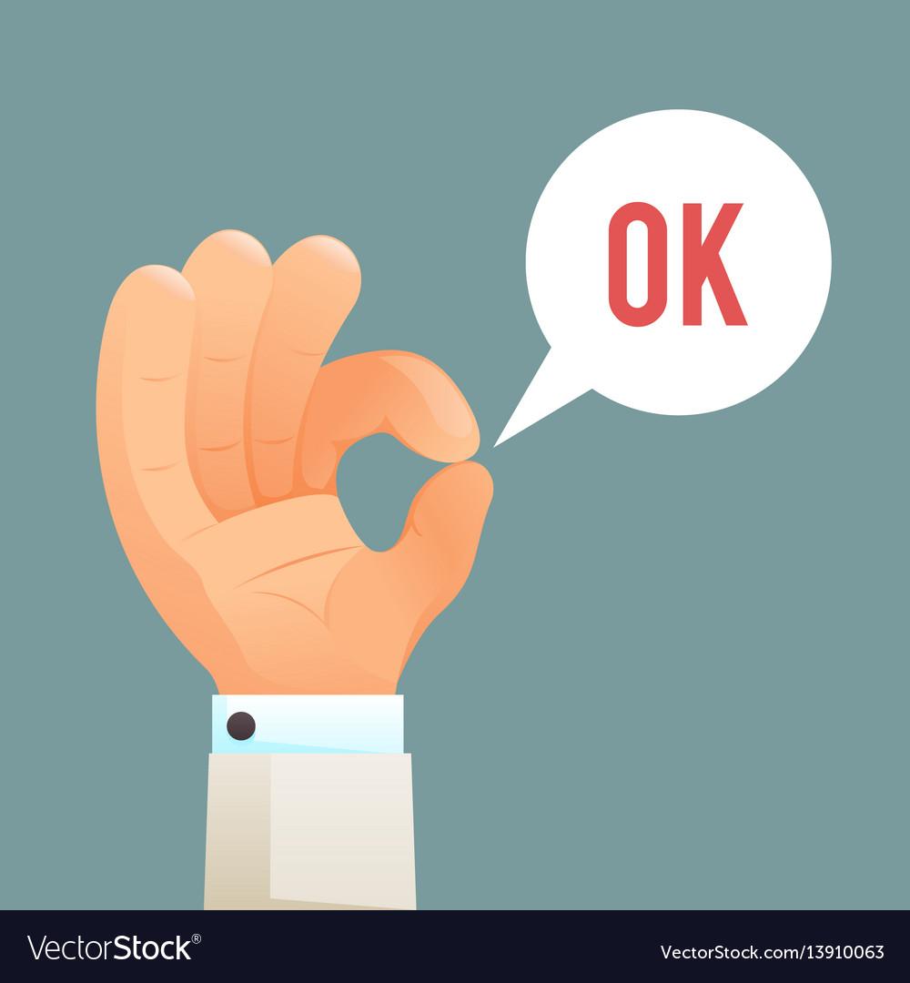 ok hand sign gesture icon cartoon design template vector image
